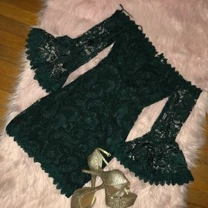 Green lace off the shoulder dress.
